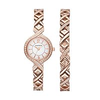 Armitron Women's Crystal X Link Watch & Bracelet Set - 75/5412WTRGST