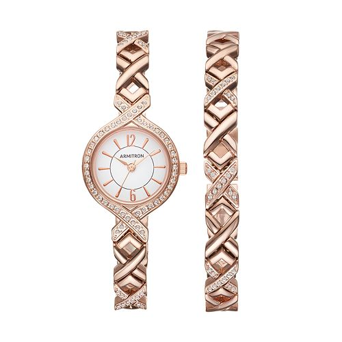 Armitron Women's Crystal X Link Watch & Bracelet Set - 75/5412WTRGST