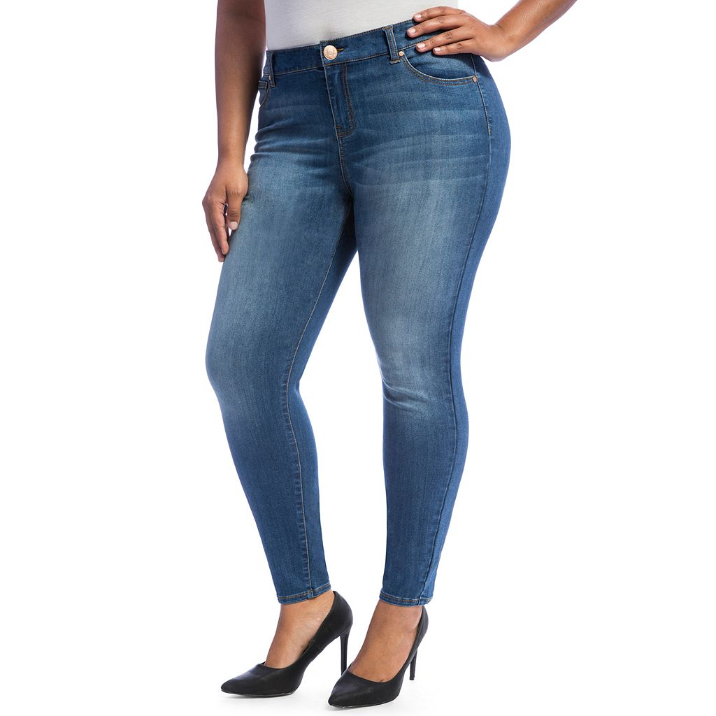 Juniors' Plus Size Crave Faded Skinny Jeans