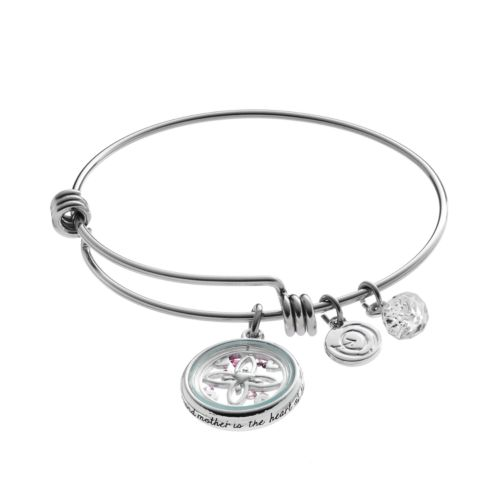 love this life Crystal Grandmother Floating Charm Bangle Bracelet