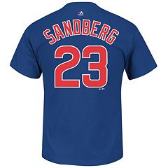 Men's Majestic Chicago Cubs Ryne Sandberg Player Name and Number Tee