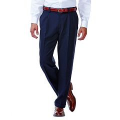 Men's Haggar® eCLo™ Stria No-Iron Classic-Fit Pleated Comfort Waist Dress Pants