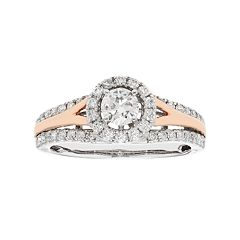 Two Tone 14k Gold 3/4 Carat T.W. IGL Certified Diamond Halo Engagement Ring