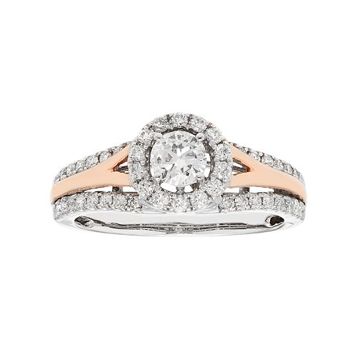 Two Tone 14k Gold 3/4 Carat T.W. IGL Certified Diamond Halo Engagement Ring