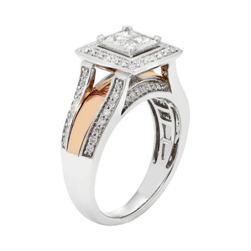 Two Tone 14k Gold 9/10 Carat T.W. IGL Certified Diamond Engagement Ring