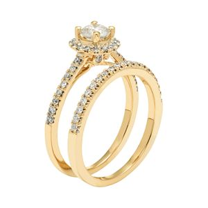 14k Gold 1 Carat T.W. IGL Certified Diamond Halo Engagement Ring Set