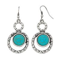 Simulated Turquoise Round Nickel Free Double Drop Earrings