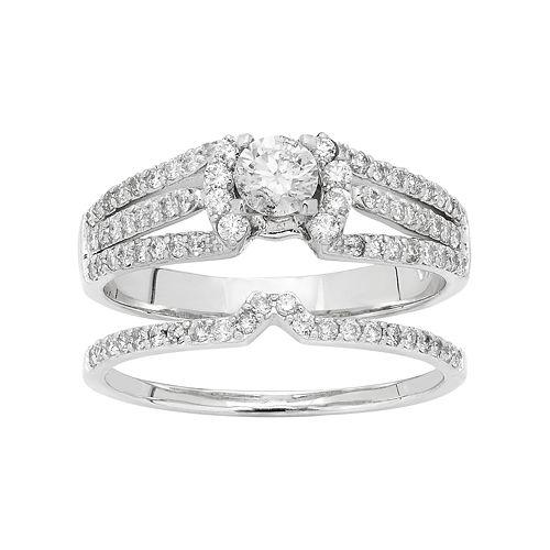 14k White Gold 1 Carat T.W. IGL Certified Diamond Engagement Ring Set