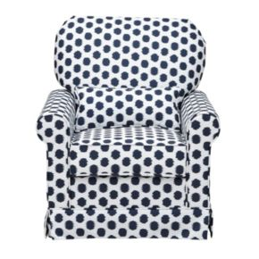 Storkcraft Upholstered Polka-Dot Swivel Glider