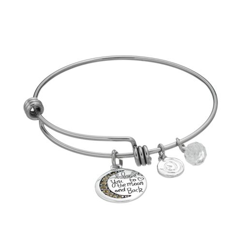 "love this life Marcasite ""I Love You to the Moon and Back"" Charm Bangle Bracelet"
