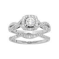 14k White Gold 1 Carat T.W. IGL Certified Diamond Halo Engagement Ring Set