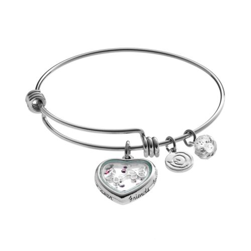 "love this life Crystal ""Friends Forever"" Floating Heart Charm Bangle Bracelet"