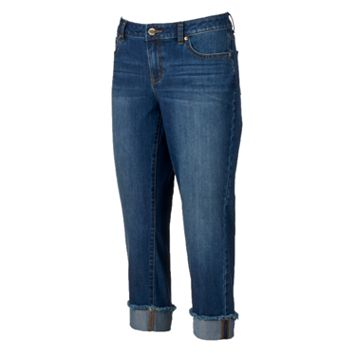Women's Jennifer Lopez Frayed Roll-Cuff Capri Jeans
