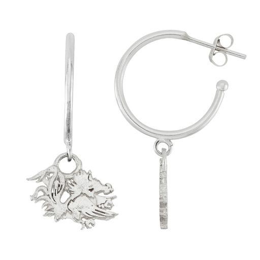 Dayna U Sterling Silver South Carolina Gamecocks Half Hoop Earrings