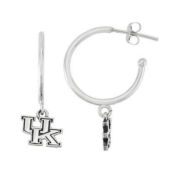 Dayna U Sterling Silver Kentucky Wildcats Half Hoop Earrings