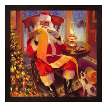 Metaverse Art Santa Christmas List Framed Wall Art
