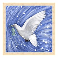 Metaverse Art Dove In The Winter Wind Framed Wall Art
