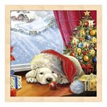 Metaverse Art Puppy Snug & Christmas Tree Framed Wall Art