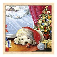 Metaverse Art Puppy Snug & Christmas Tree Framed Wall Art