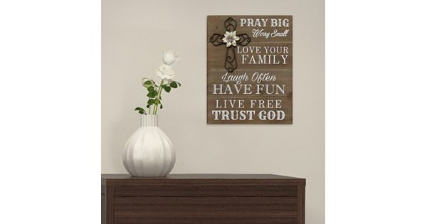 "Stratton Home Decor ""Pray Big"" Wood Wall Art"