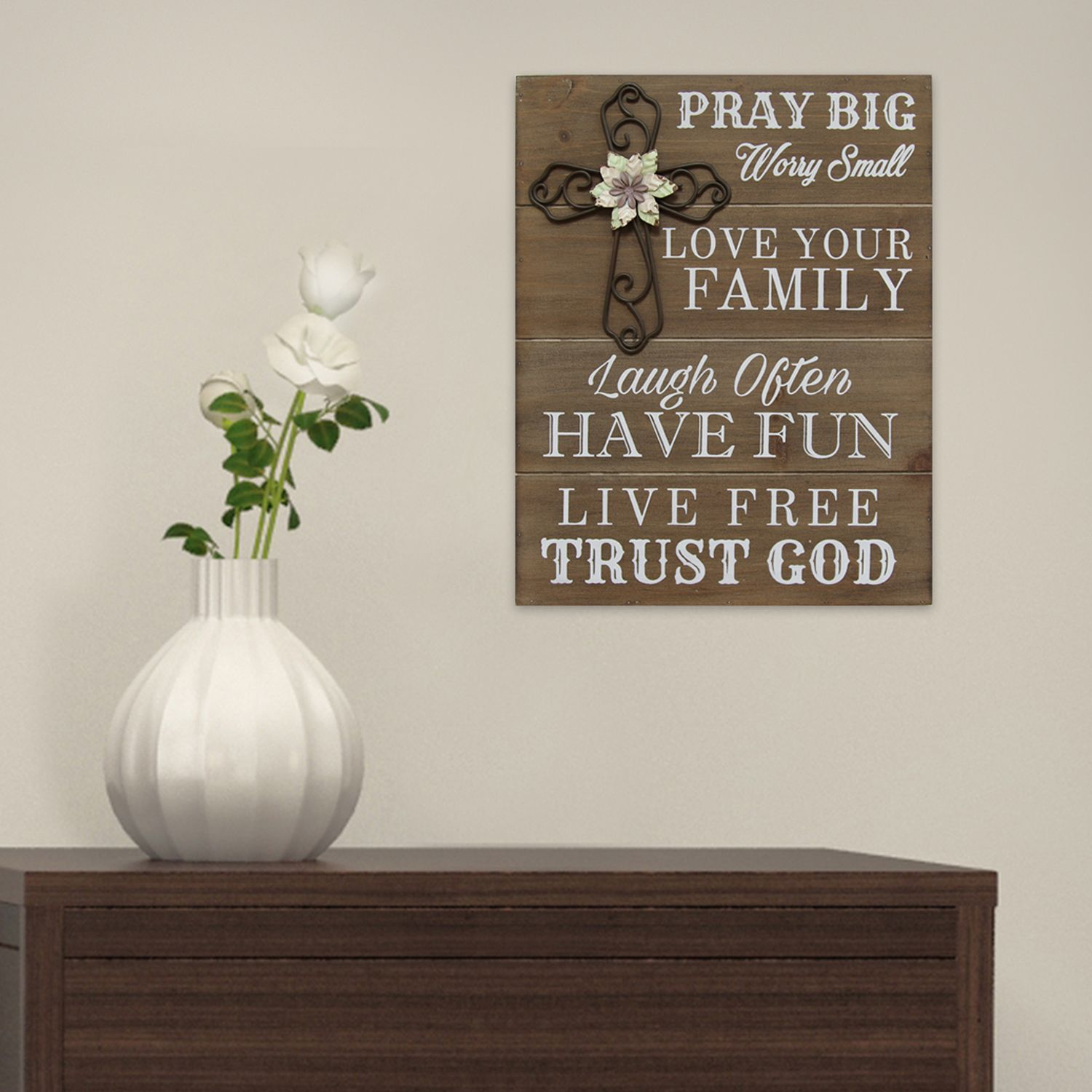 Stratton Home Decor U0027Pray Bigu0027 Wood Wall Art