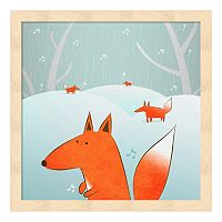 Metaverse Art Winter Foxes Framed Wall Art