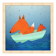 Metaverse Art Fox In A Boat Wood Framed Wall Art