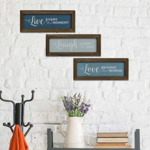 Stratton Home Decor Live Laugh Love Wood Wall Art 3 Piece Set