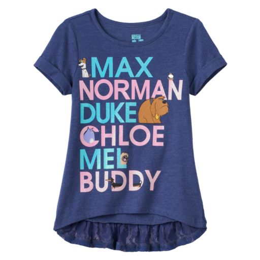 "Disney / Pixar The Life of Pets ""Max, Norman, Duke, Chloe, Mel & Buddy"" Girls 4-6x High-Low Tee"
