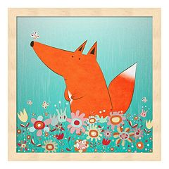 Metaverse Art Fox In Flowers Wood Framed Wall Art