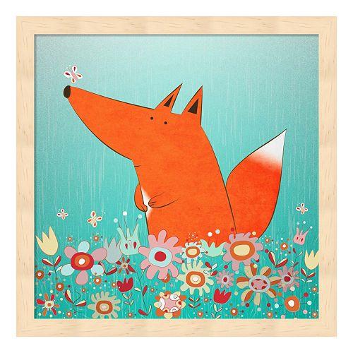 Metaverse Art Fox In Flowers Wood Framed Wall Art
