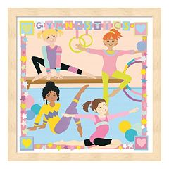 Metaverse Art 'Gymnastics' Wood Framed Wall Art
