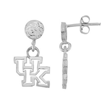 Dayna U Sterling Silver Kentucky Wildcats Hammered Post Drop Earrings