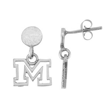 Dayna U Sterling Silver Michigan Wolverines Hammered Post Drop Earrings