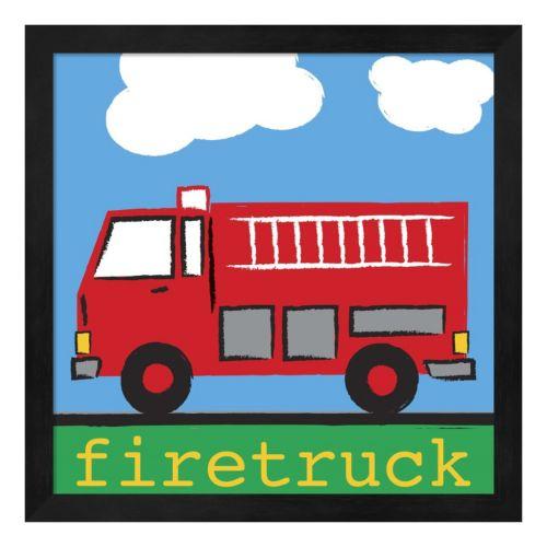 Metaverse Art Red Firetruck Framed Wall Art