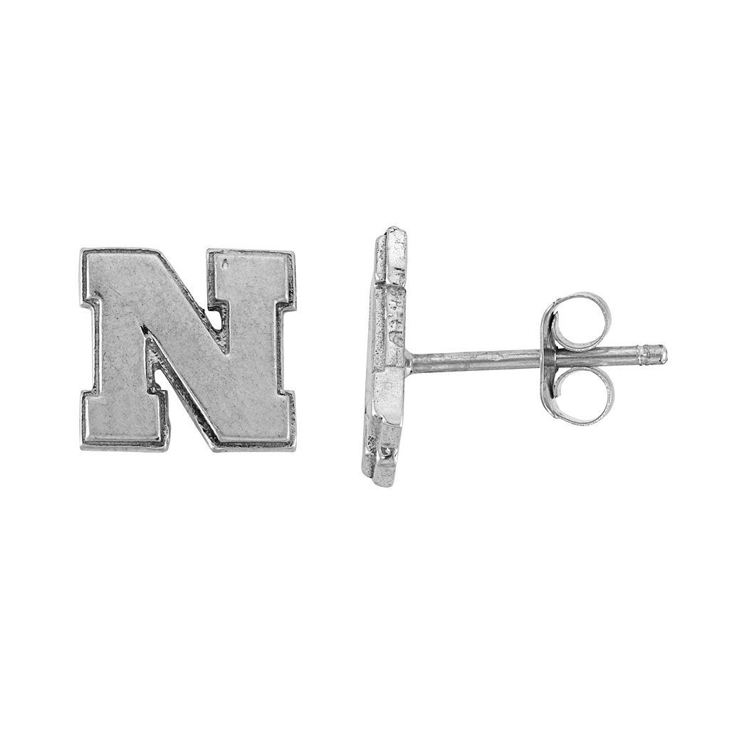 Dayna U Sterling Silver Nebraska Cornhuskers Logo Stud Earrings