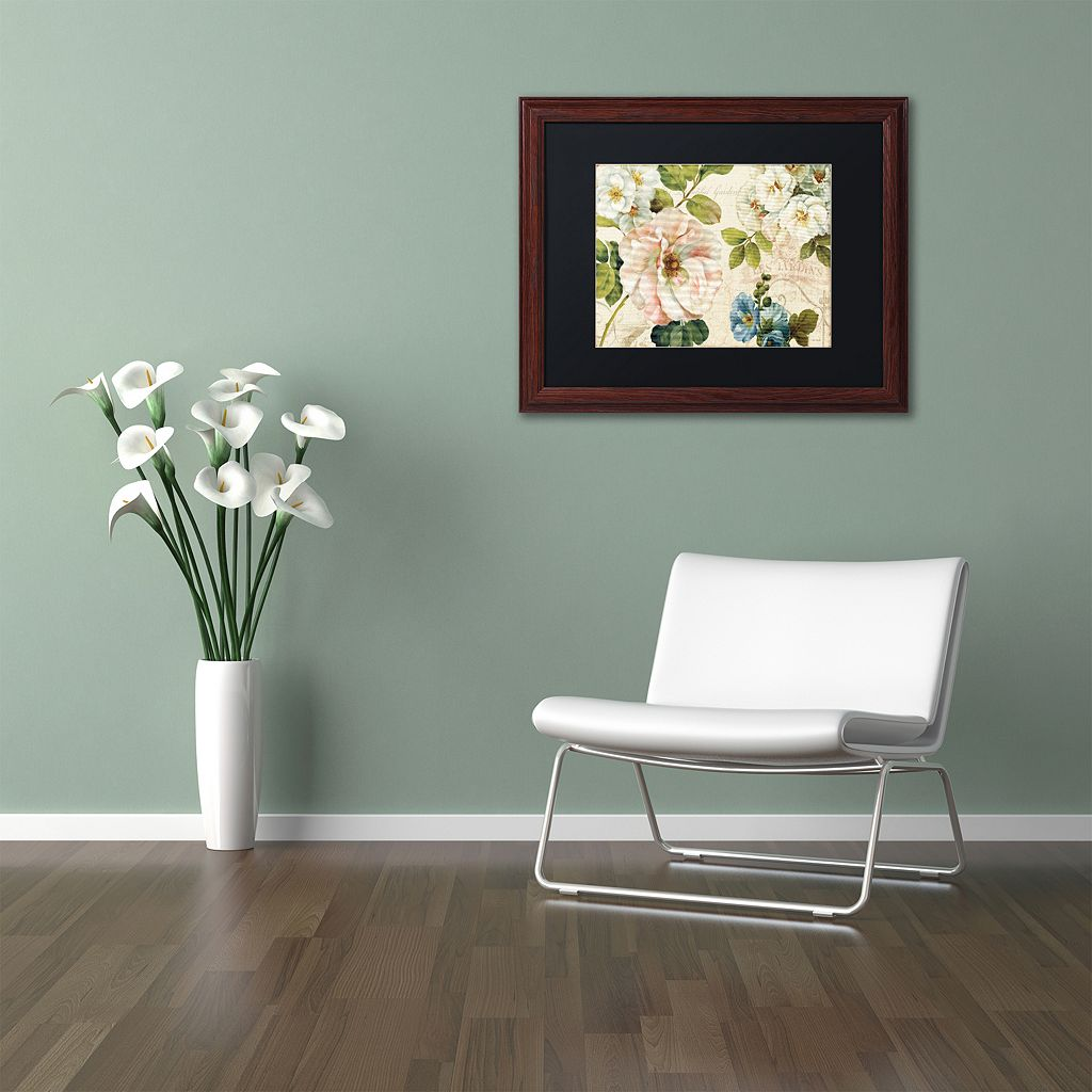 Trademark Fine Art Les Jardin I Wood Finish Framed Wall Art
