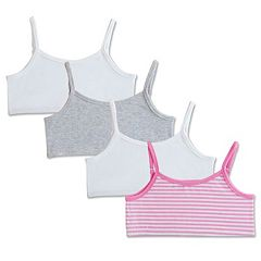Girls 4-14 Fruit of the Loom 4 pkReversible Crop Top Bras