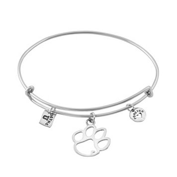 Dayna U Sterling Silver Clemson Tigers Charm Adjustable Bangle Bracelet