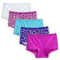 Girls 6-16 Fruit of the Loom 5-pk. Breathable Boyshorts