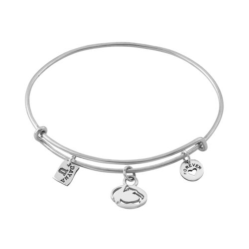 Dayna U Sterling Silver Penn State Nittany Lions Charm Adjustable Bangle Bracelet