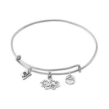 Dayna U Sterling Silver South Carolina Gamecocks Charm Adjustable Bangle Bracelet