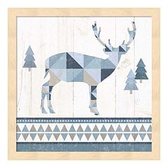 Metaverse Art Nordic Geo Lodge Deer I Wood Framed Wall Art