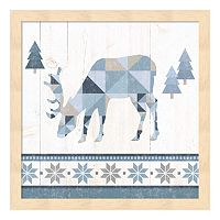 Metaverse Art Nordic Geo Lodge Deer II Wood Framed Wall Art
