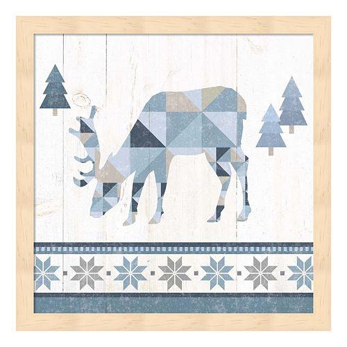 Metaverse Art Nordic Geo Lodge Deer II Wood Framed Wall Art