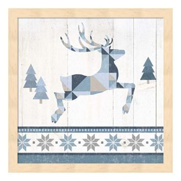 Metaverse Art Nordic Geo Lodge Deer III Wood Framed Wall Art