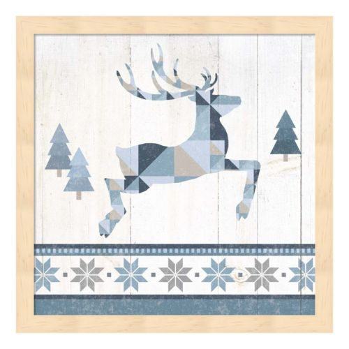 Metaverse Art Nordic Geo Lodge Deer III Wood Framed Wall Art