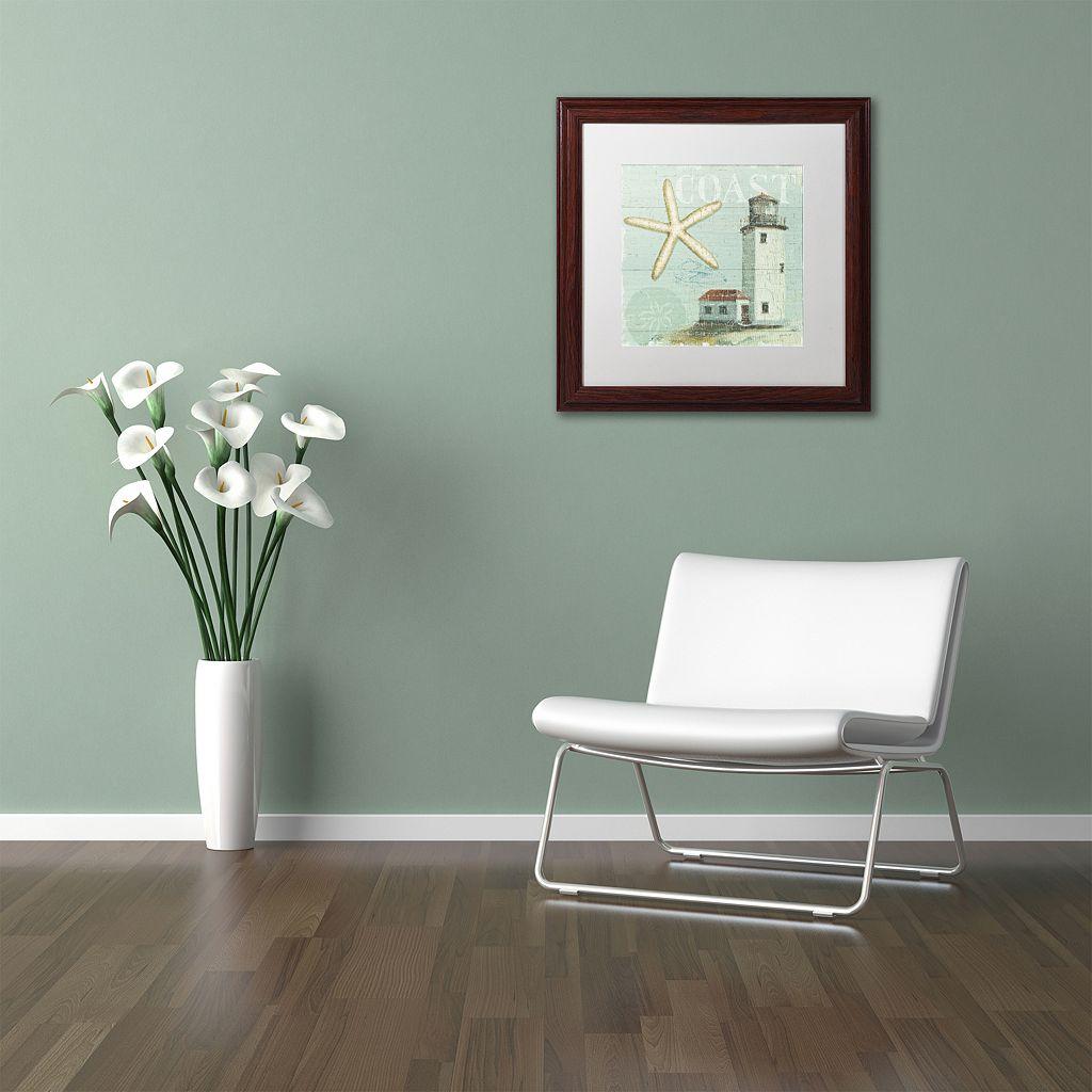 Trademark Fine Art Beach House II Wood Finish Framed Wall Art