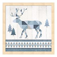 Metaverse Art Nordic Geo Lodge Deer IV Wood Framed Wall Art