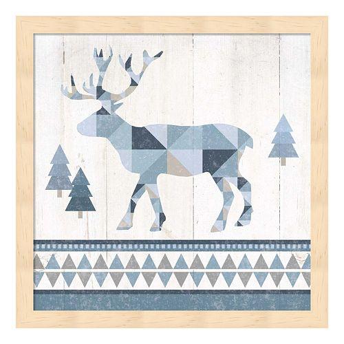 Metaverse Art Nordic Geo Lodge Deer IV Wood Framed Wall Art
